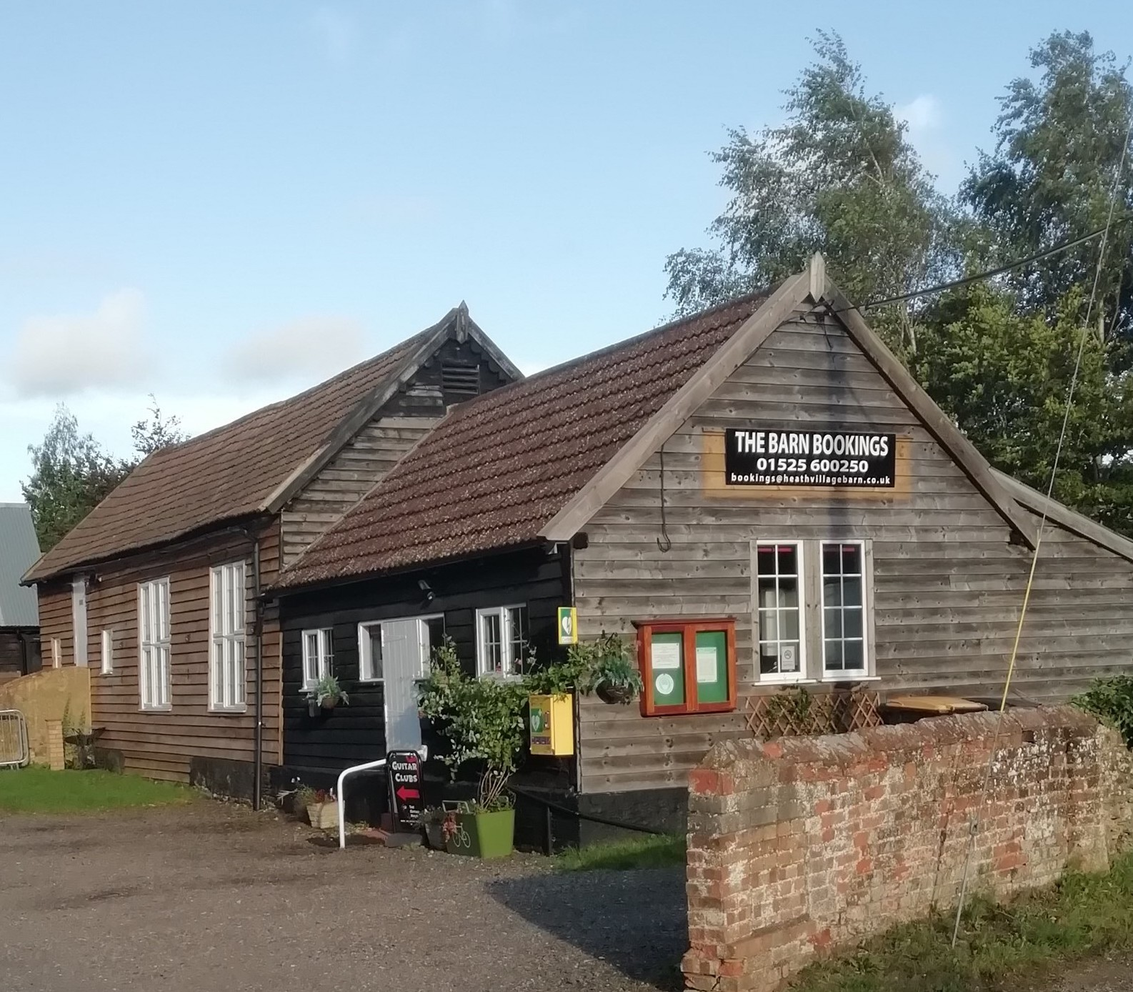 Heath Village Barn - with the new sign